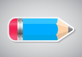 Pencil Sticker Label Vector Illustration