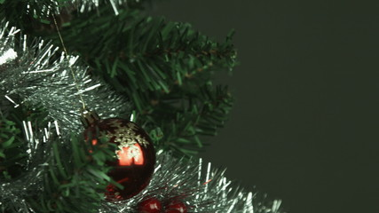 christmas tree isolated on black background close-up