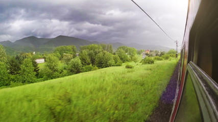 Europe train wide angle Tatra mountains view out the window