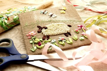 Embroidery ribbons. Hobby