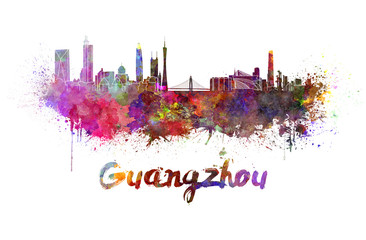 Guangzhou skyline in watercolor