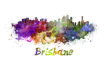 Brisbane skyline in watercolor