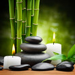 spa still life zen basalt stones and candle