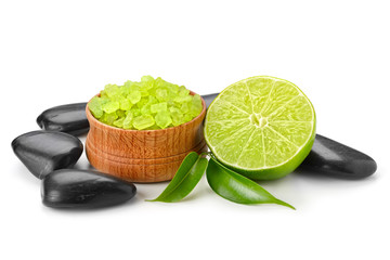 spa still life with lime and toning sea crystals