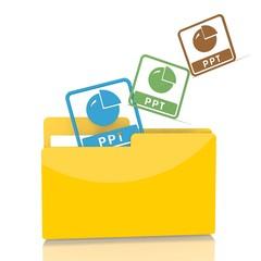 file folder with three ppt symbol