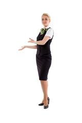 stewardess invites the cabin