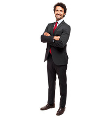 Full length smiling manager isolated on white