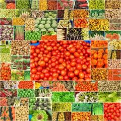 légumes frais au marché bio
