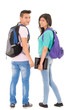 students with backpack white background