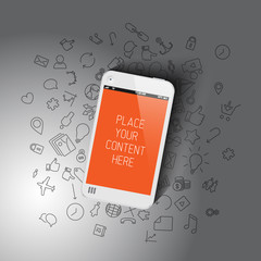 Realistic smartphone template with background icons