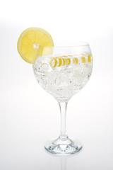 Gin and tonic aislado sobre fondo blanco adornado con limón