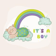 Baby Bear on a Rainbow - Baby Shower or Arrival Card - in vector