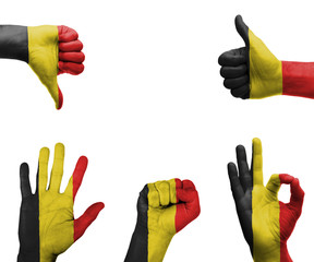 Hand set with the flag of Belgium