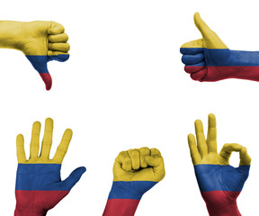 Hand set with the flag of Colombia