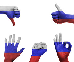 Hand set with the flag of Russia