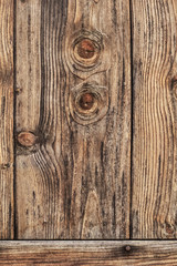 Old Rustic Knotted Pine Wood Barn Door - Detail