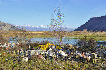 Garbage in beautiful landscape