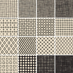Basic Doodle Seamless Pattern Set No.7 in black and white