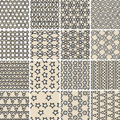 Basic Doodle Seamless Pattern Set No.10 in black and white