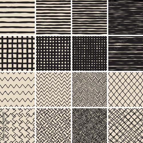 Staande foto Kunstmatig Basic Doodle Seamless Pattern Set No.2 in black and white