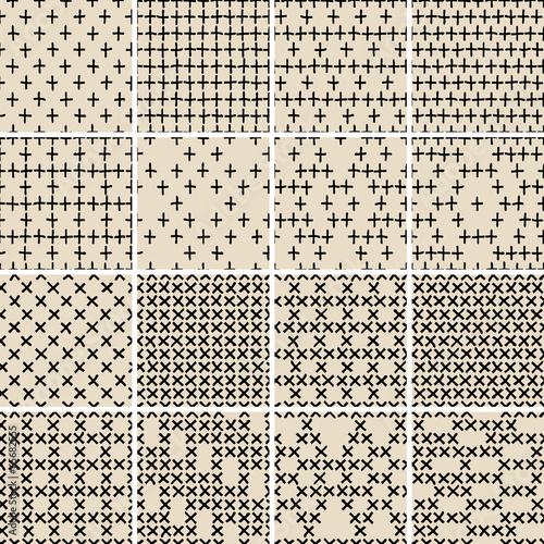 Staande foto Kunstmatig Basic Doodle Seamless Pattern Set No.5 in black and white