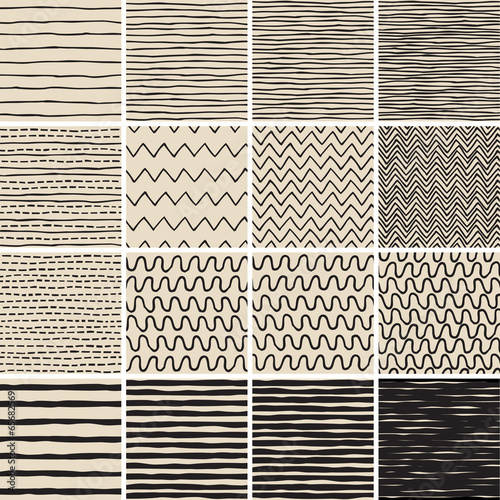 Foto op Canvas Kunstmatig Basic Doodle Seamless Pattern Set No.6 in black and white