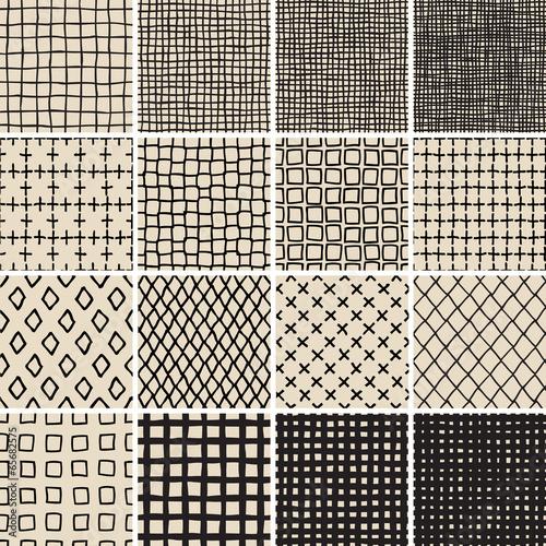 Staande foto Kunstmatig Basic Doodle Seamless Pattern Set No.7 in black and white