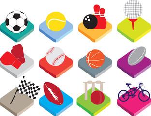 isometric flat sports ball icon set on white background