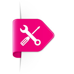 Screwdriver and spanner - Pinker Sticker Pfeil mit Schatten