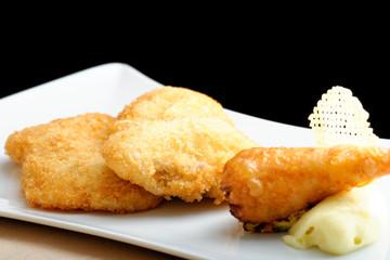 Pork chop (vienna steak) and  fried gourmet potato roll