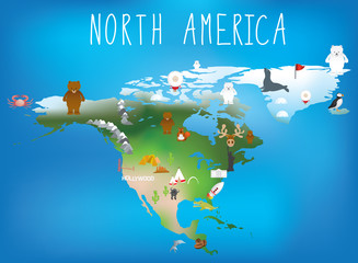 north america map for childrens using cartoons of animals and fa