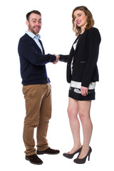 Smiling man and woman shaking hands on a deal