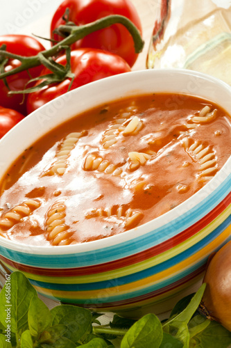 Tomato soup and ingredients