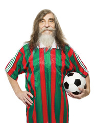 Senior soccer sport activity. Old man football fan with ball