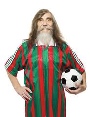 Senior soccer sport activity. Old man football fan with ball