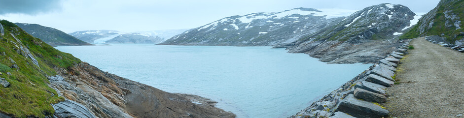 Lake Svartisvatnet and  Svartisen Glacier (Norway). Panorama.