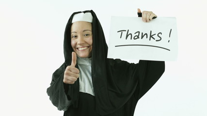 caucasian nun isolated on white grateful thanks sign
