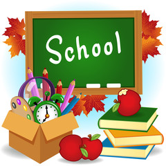 school supplies - vector illustration, eps