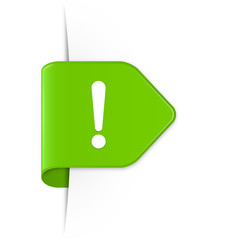 Ausrufezeichen - Grüner Sticker Pfeil mit Schatten