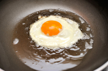 Fried egg on oil