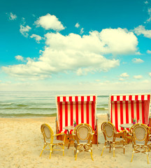 beach cafe on the Baltic Sea. lanscape with cloudy blue sky