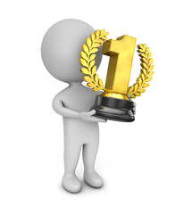 3d cute people- golden trophy