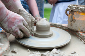 Pottery - formation process of the clay dish with traditional me
