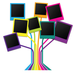 Family tree with many-colored frames