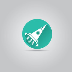 Rocket flat icon with long shadow