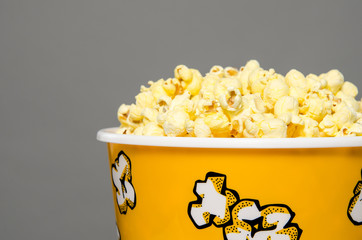 Closeup bucket of popcorn