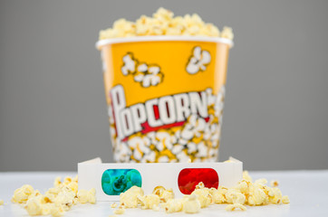 3d movie glasses with popcorn