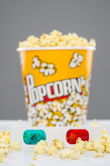 3d glasses with popcorn