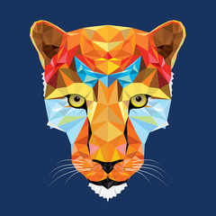 wild cat leopard in geometric pattern, vector