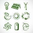 Green energy sketch icons - 65690717